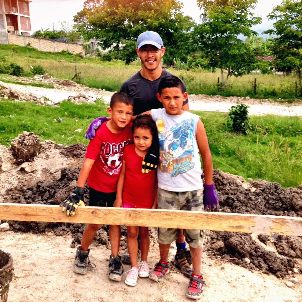 Jairo, Elian, Ashly and I on the build site in Siguatepeque, Honduras with Habitat for Humanity